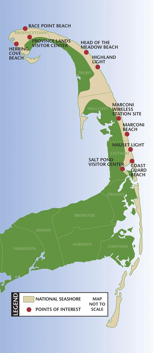 Cape Cod National Seashore Park & Sites of Interest Map