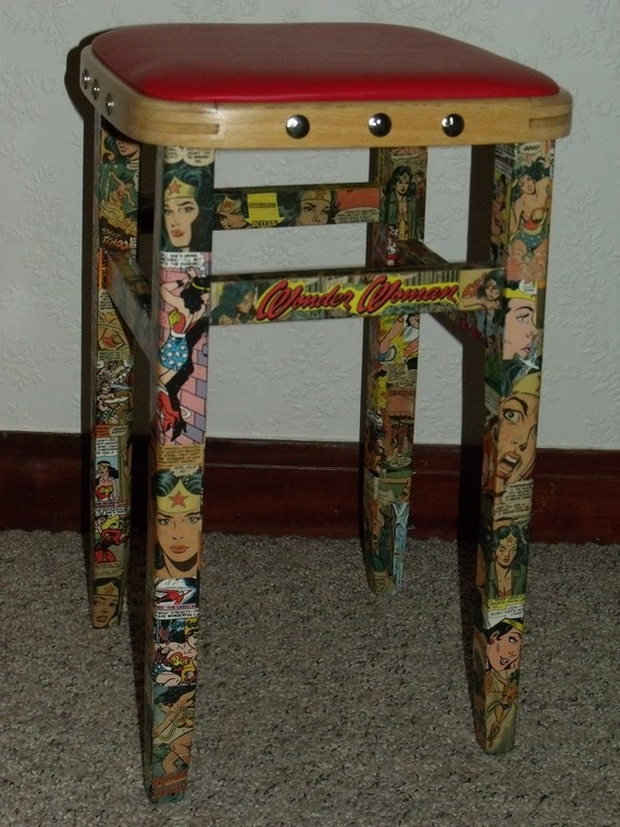 Comic Book Decoupage Using New But Vintage Looking Comic Books Of Course Furniture Reborn