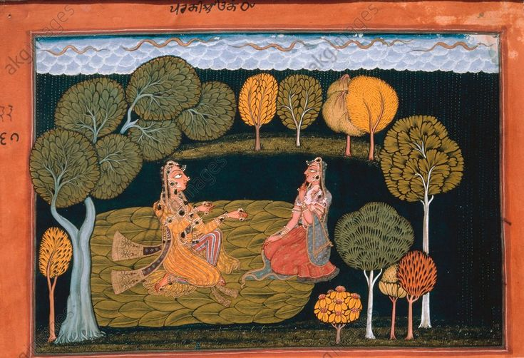 "Nayika expects her lover with impatience. ""Did I go into the forest in vain?"" to a poem in a ""Rasamanjari"" by Bhanudata. Basholi style 1665 Jammu, India"