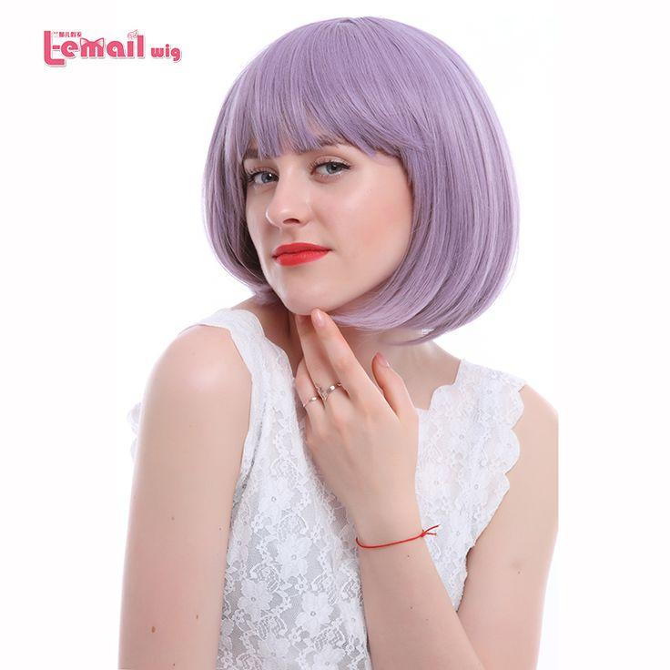 L-이메일 가발 16 색 패션 여성 가발 내열 합성 머리 peruca 핑크 그린 레드 퍼플 금발 짧은 밥 가발