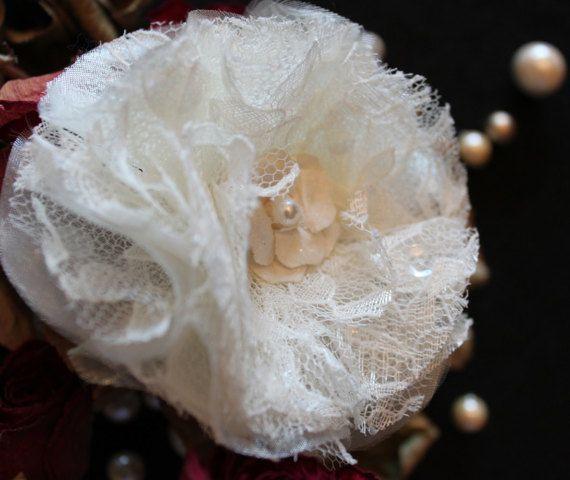 Wedding Hair Clip  Ivory Lace by OneMockingbirdLoft on Etsy