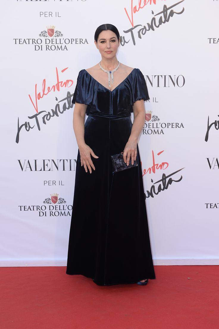 Monica Bellucci in a Valentino Fall/Winter 2016-17 gown at the opening of 'La Traviata' at Teatro Dell'Opera di Roma, on May 22th, 2016.