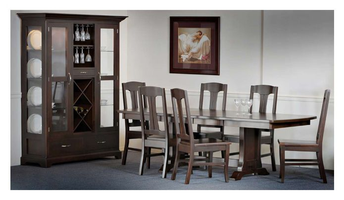 Beaumont Dining Collection. Available in 6 different stains of hardwood. For more information visit www.portfoliointeriors.ca/brand/canadian-wood-manufacturing