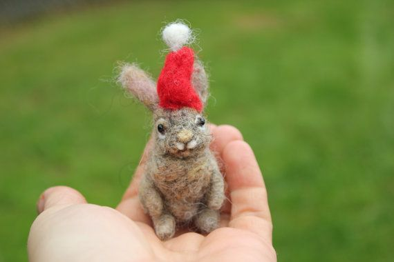Felt Hare-Christmas Bunny-Winter Decor-Handmade Gift Idea-Needle Felted Animal-Made to order   Felt miniature bunnies would love to sit somewhere in your house or be given as a gift for someone who loves animals
