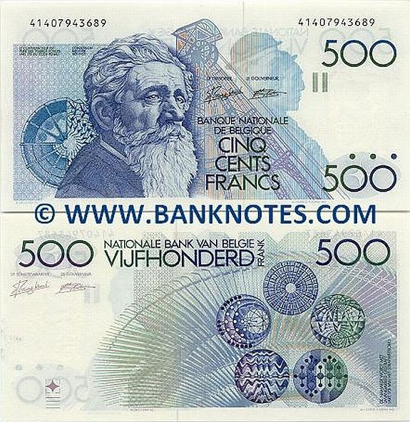 belgium currency   Belgium 500 Francs 1982-1998 - Belgian Currency Bank Notes, Paper ...