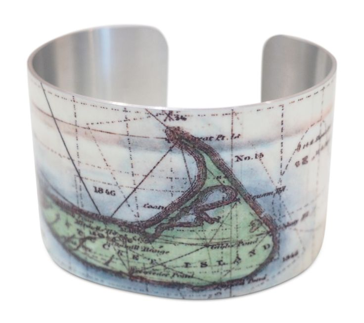 Nantucket Map Cuff Bracelet