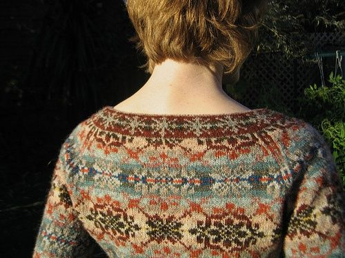 I'm pinning this for inspiration even though there isn't a pattern given for this. Link takes you to ravelry lorijo's fair isle cardigan. She used unknown sweater pattern, fair isle pattern from some mitts, and colors inspired by a painting.