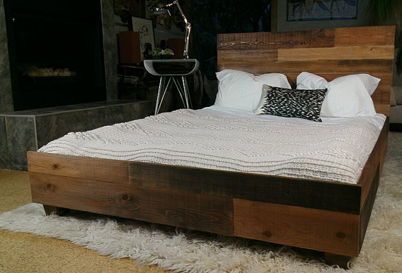 reclaimed wood industrial platform bed frame design elements pinterest industrial platform beds platform bed frame and platform beds - Wood Frame Bed
