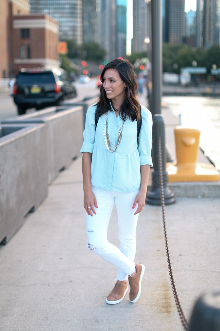 Wellesley & King - Peplum Chambray + White Denim to Transition into Fall - Wellesley & King