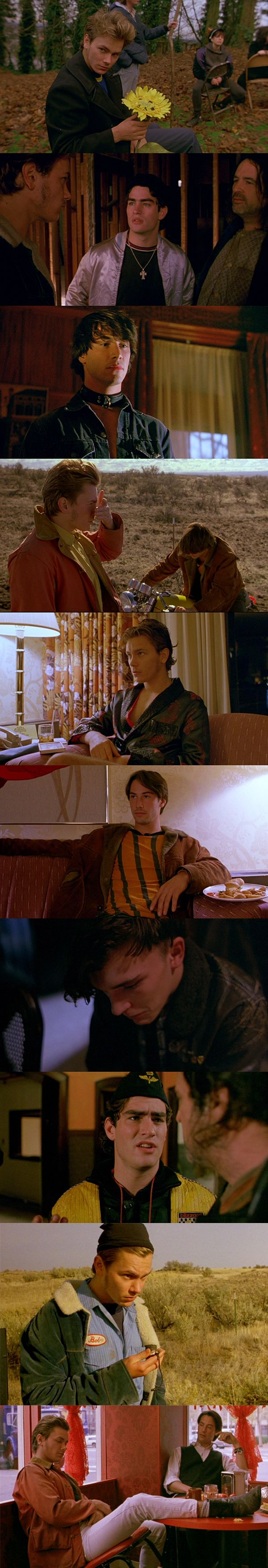 My Own Private Idaho. From the shearling coats to the leather jackets to the beatle boots, I love the styling of this movie. Great clothes that look so casual, effortless, and smart. Wonder what happened to all those clothes?