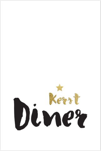 Enkele zwarte kerstdiner menukaart met stoere handgetekende tekst en glitterlookster. Gratis verzending in Nederland en België.