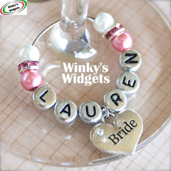 Heart Wine Glass Charms | Deluxe Wedding Heart Wine Glass Charm (Personalised with any name) Hen ...