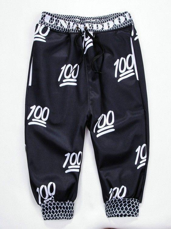 Men Black 100 Emoji Joggers 3D Printed Sweatpants Five Pants Shorts
