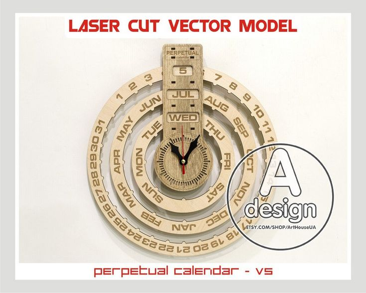 Perpetual calendar, Calendar laser cut vector plan, Perpetual calendar and clock vector , Wood calendar, Plywood calendar, Cnc file, PC-v5