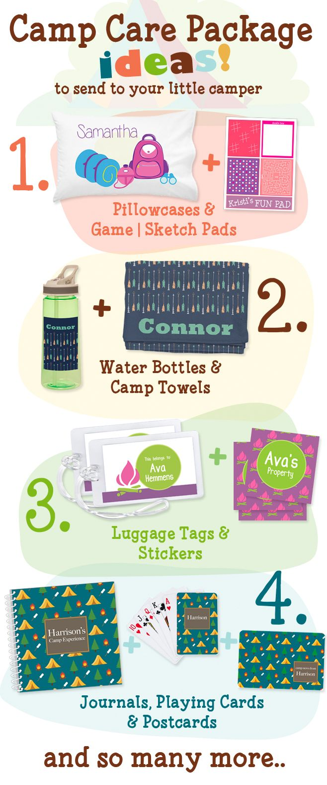 Have a child in camp or going soon? Here are just a few camp care package ideas your child will love. Choose from hundreds of unique gifts, we'll custom personalize them, and can even ship them directly to your camper.
