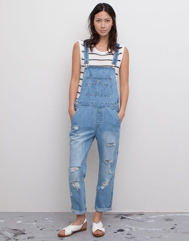 Pull&Bear - dames - tuinbroeken en jumpsuits - lange denim tuinbroek - blauw - 05637306-V2015
