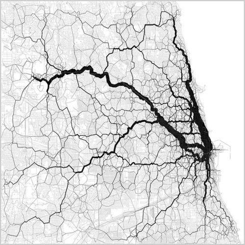 Utilizing geotagged twitter feeds, Eric Fischer creates maps that visualize how people move throughout cities.