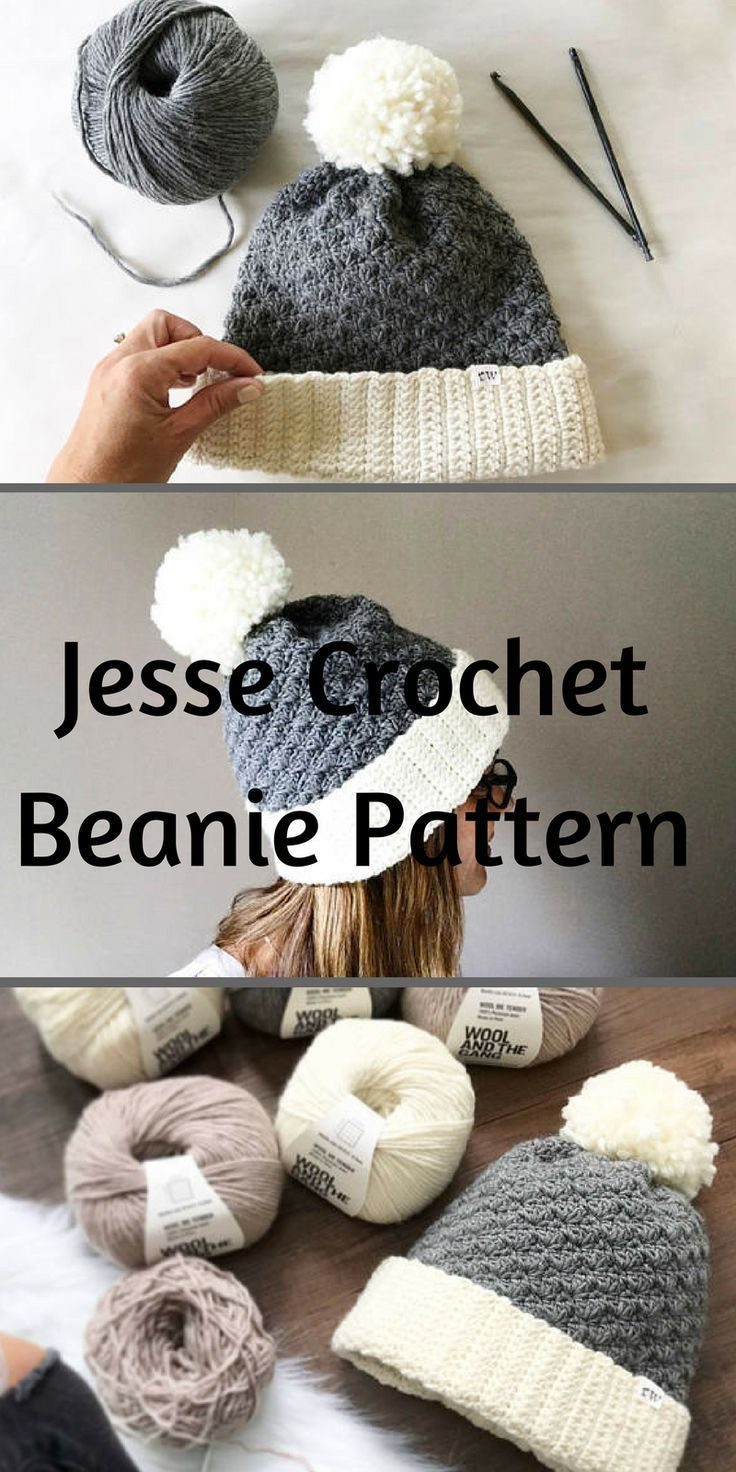 Crochet Pattern Jesse Beanie Hat #Etsy #crochet #ad