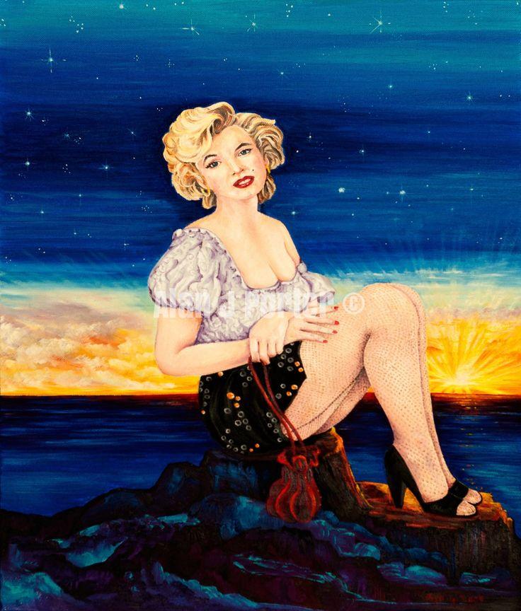 #love #alanjporterart #kompas #art #marilyn #monroe #normajean #painting #sky #night