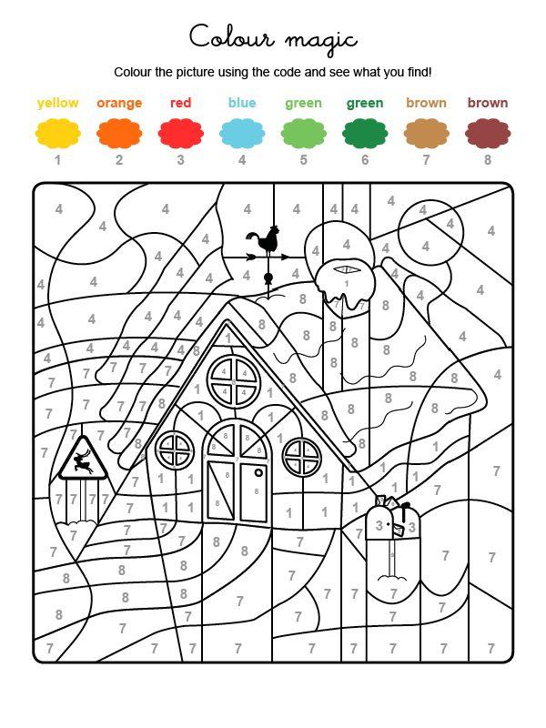 Coloriage Anglais De Noel.Voici Un Coloriage Magique En Anglais Du Chalet Du Pere Noel
