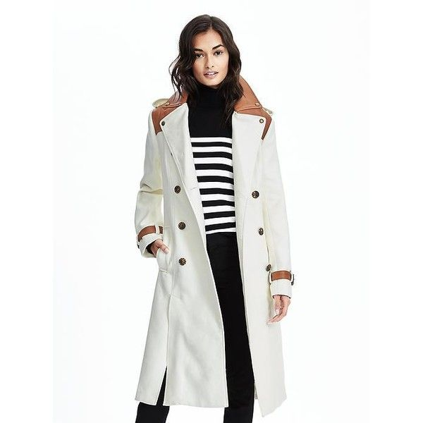 Banana Republic Womens Heritage Full Length Trench ($468) ❤ liked on Polyvore featuring outerwear, coats, organic natural, double breasted trench coat, banana republic coat, banana republic, cotton trench coat and full length coat