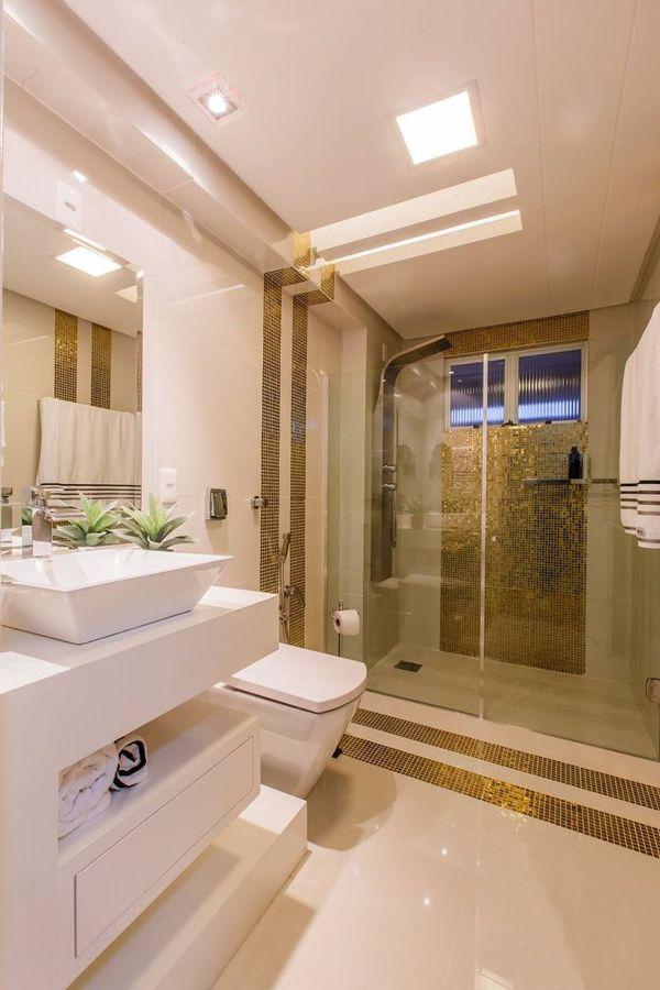 Pastilhas douradas / Banheiros decorados: escolha o seu #hogarhabitissimo
