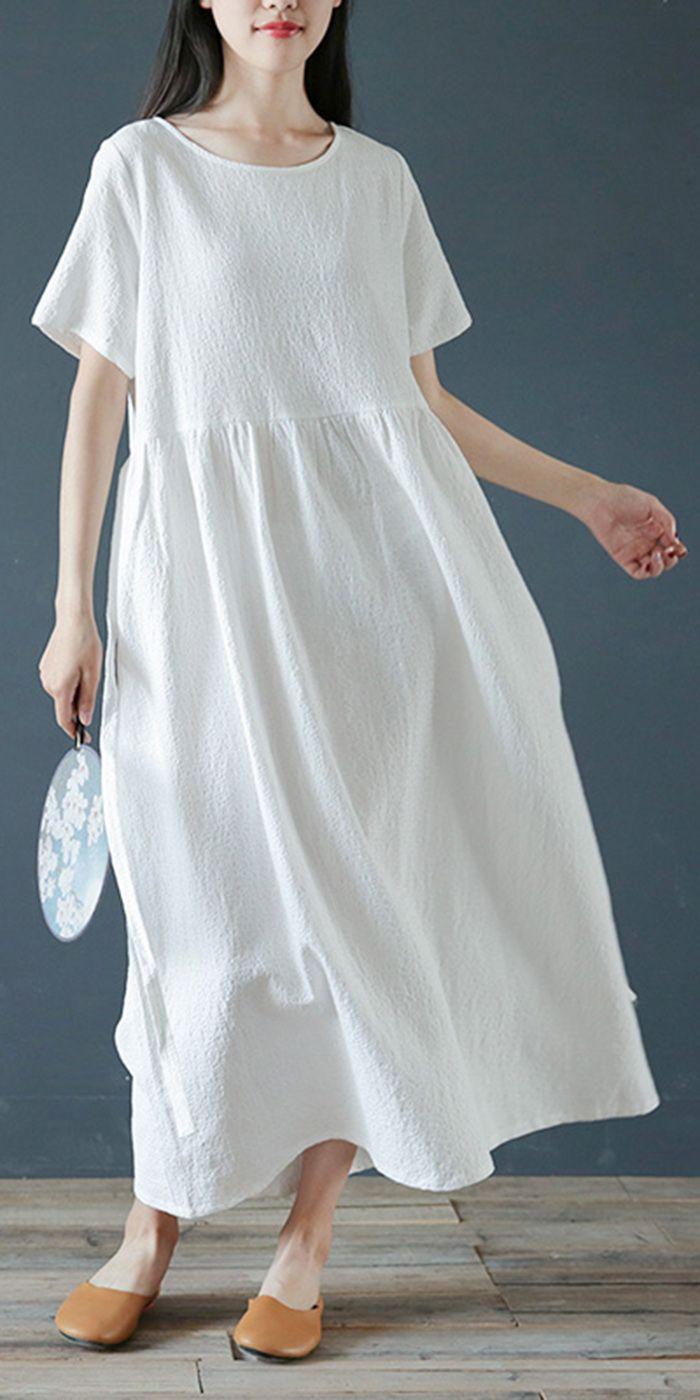 Style White Linen Cotton Dresses O Neck Jacquard Dresses Dresses Linen Dress Pattern White Dress Summer Pattern White Dress [ 1400 x 700 Pixel ]