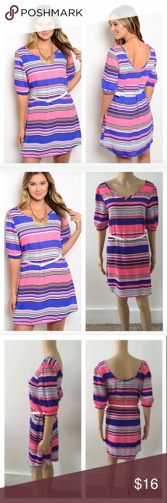 NEW large striped belted dress ****PRICE FIRM NO TRADES****  Very cute short dress featuring a striped pattern, slightly curved hemline, and scooped back neckline. Dress comes with belt at waist as seen in pics.   Item is brand new   Color: pink and blue stripes  ****PRICE FIRM NO TRADES**** ****PRICE FIRM NO TRADES**** ****PRICE FIRM NO TRADES**** Dresses Mini
