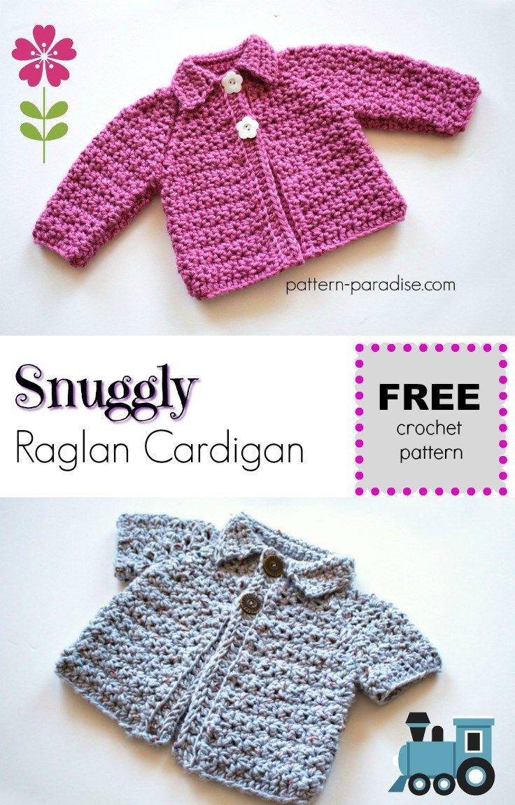 Free Crochet Pattern Snuggly Raglan Cardigan Crochet Uu
