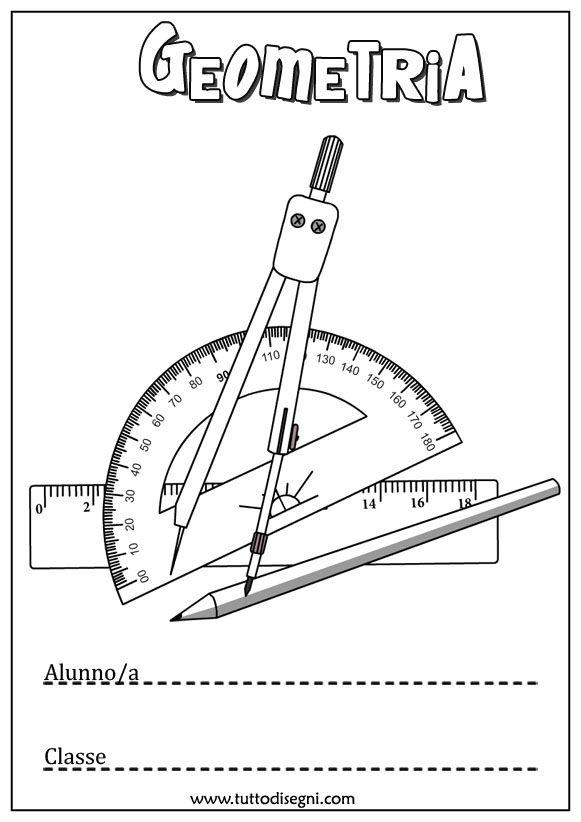 Copertina quaderno di geometria da colorare - TuttoDisegni.com