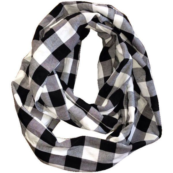 NY to Nashville The Kit Carson Scarf Black/white Carson_scarf found on Polyvore featuring accessories, scarves, army scarves, black and white scarves, fur shawl, black and white shawl and fur scarves