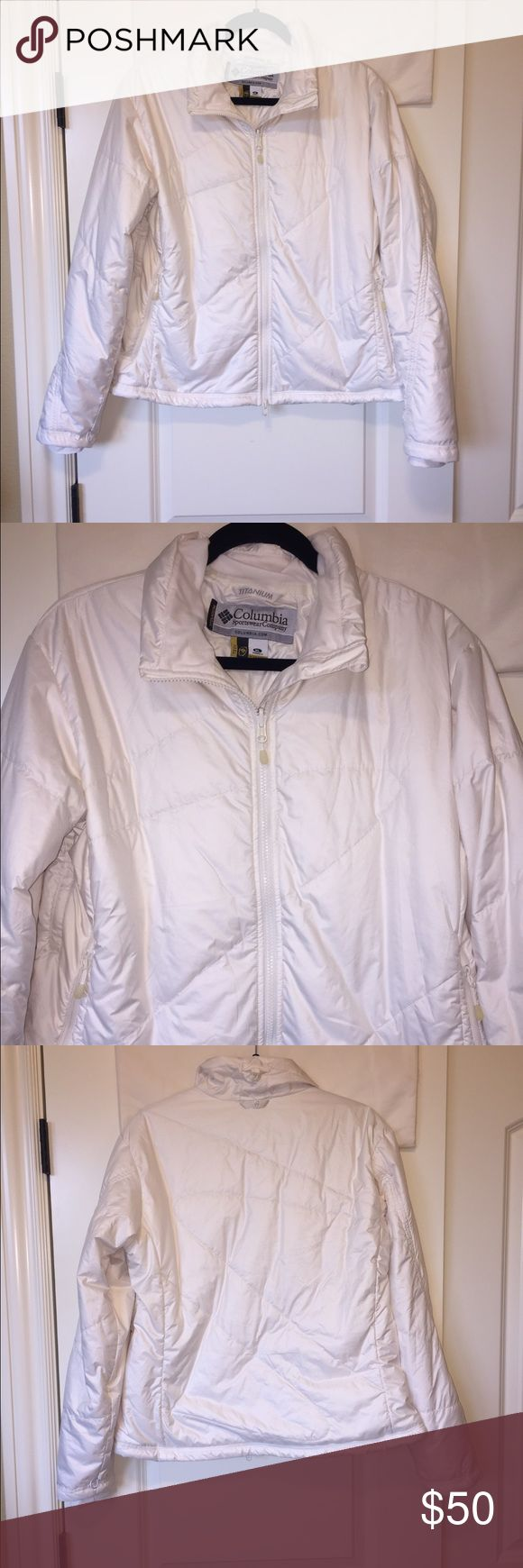 """Columbia Sportswear Titanium Interchange Jacket Women's Columbia Sportswear Titanium Interchange Jacket. Like new. Winter white color. Very warm without the bulkiness. Zippered pockets. cuffs inside sleeves to prevent drafts. Adjustable cinch at hem. 100% polyester. 26"""" length from shoulder. Size XL. Columbia Jackets & Coats Puffers"""