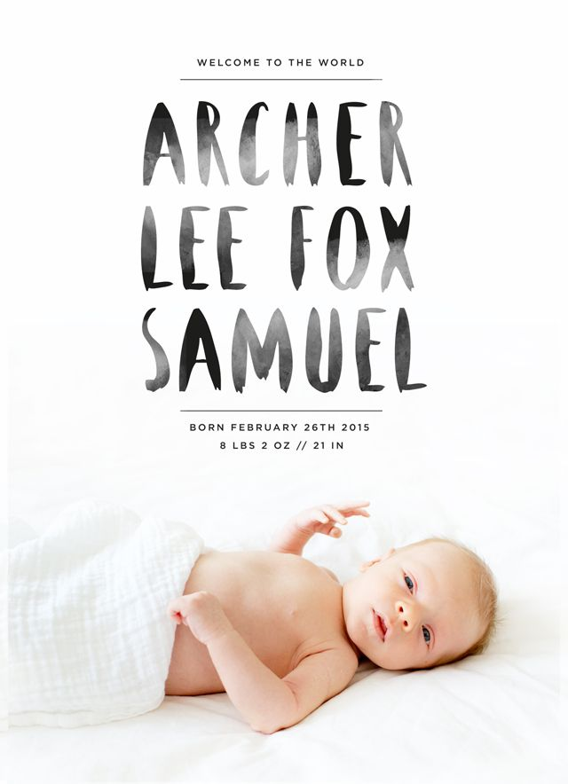 Photo cards from Artifact Uprising   Archer's Birth Announcement