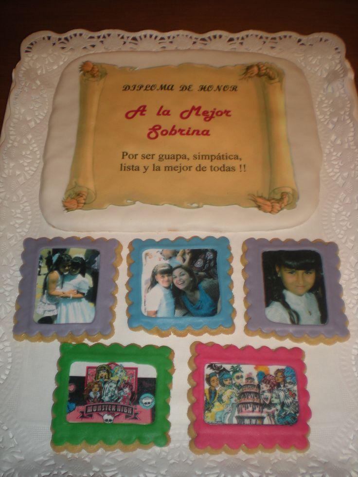Un regalo muy original, personalizaado  y dulce!    Un diploma y 5 fotos, todo en galleta y comestible!!