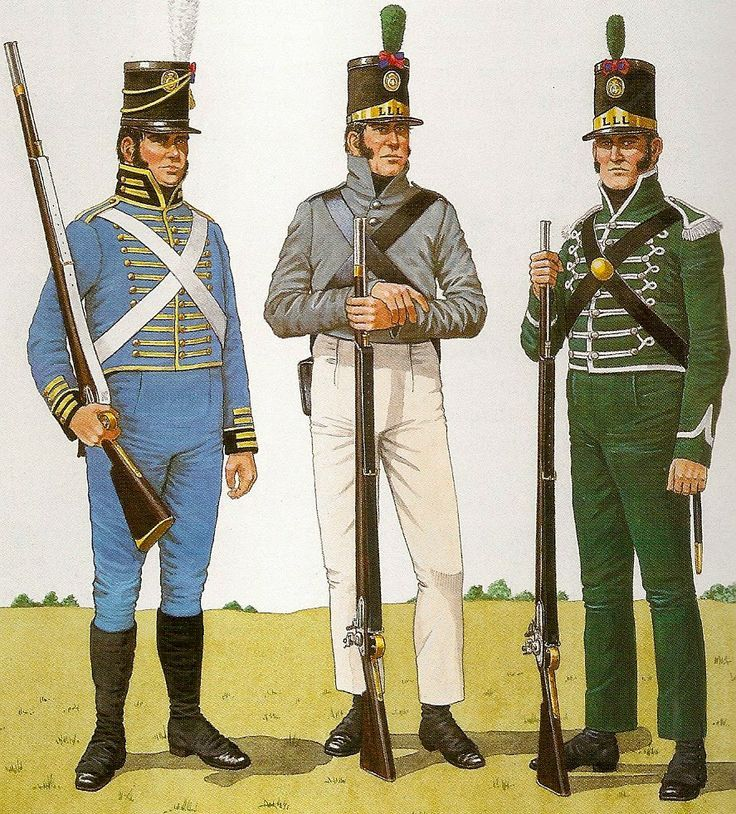 Portuguese Infantry (Left) Rifleman Light Legion.1805. (Centro) Rifleman of the 2nd Battalion of the Loyal Lusitanian Legion, 1809-1810. (Right) Rifleman of the Loyal Lusitanian Legion Loyal. 1808 -11.