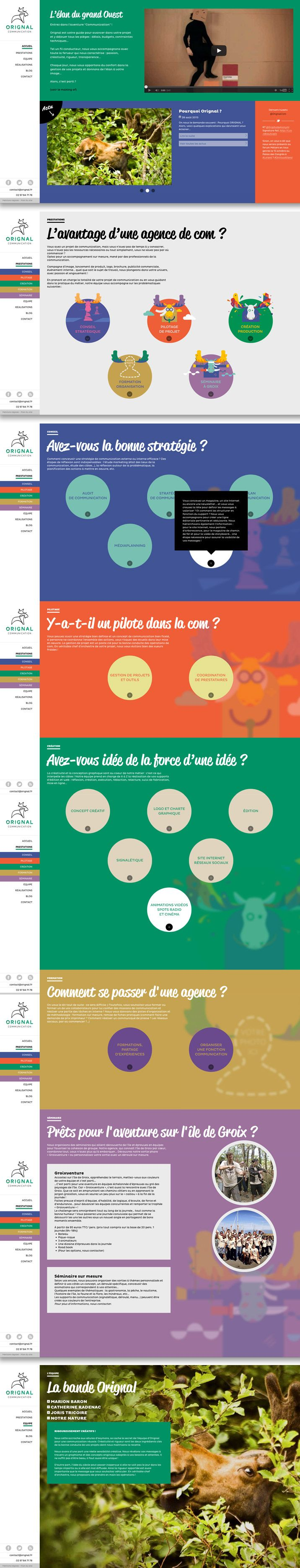 Winner 11 October 2013 Orignal communication by Orignal communication http://www.cssdesignawards.com/css-web-design-award-winner.php?id=23348 The fullscreen responsive website of a creative Britanny agency. #Responsive #Colorful #FlatDesign #Scroll #WebAward