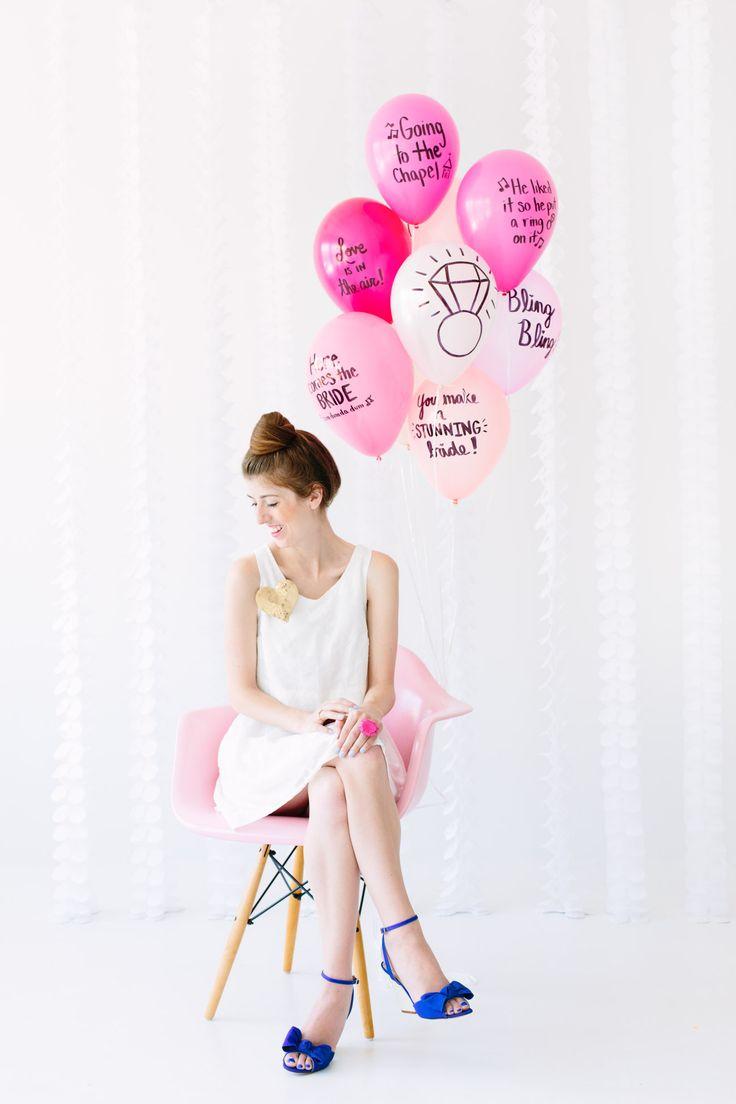 Deseos para la novia escritos en globos   -   DIY Balloon Wishes for the Bride-to-be