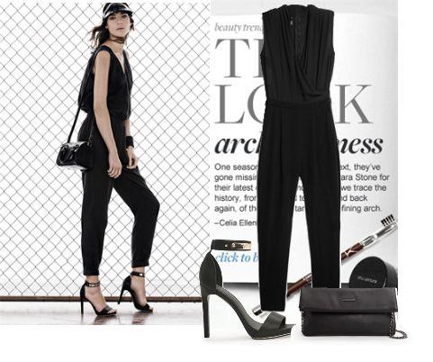 Черный комбинезон Mango: с чем носить? black jumpsuit fashion look