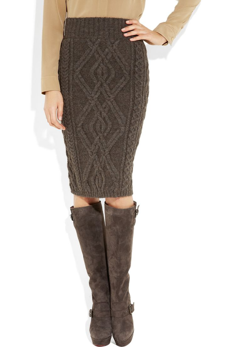 Chloe cable-knit skirt. boots too