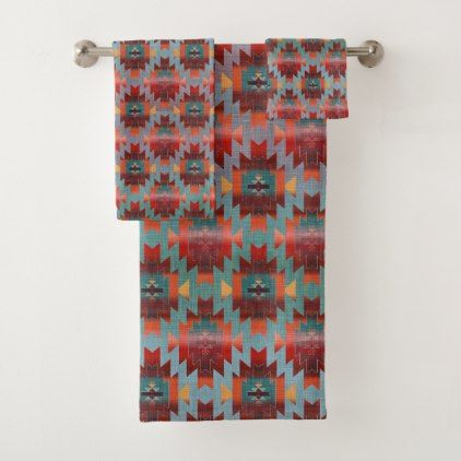 Aqua and Burgundy | Southwestern Style Bath Towel Set - patterns pattern special unique design gift idea diy