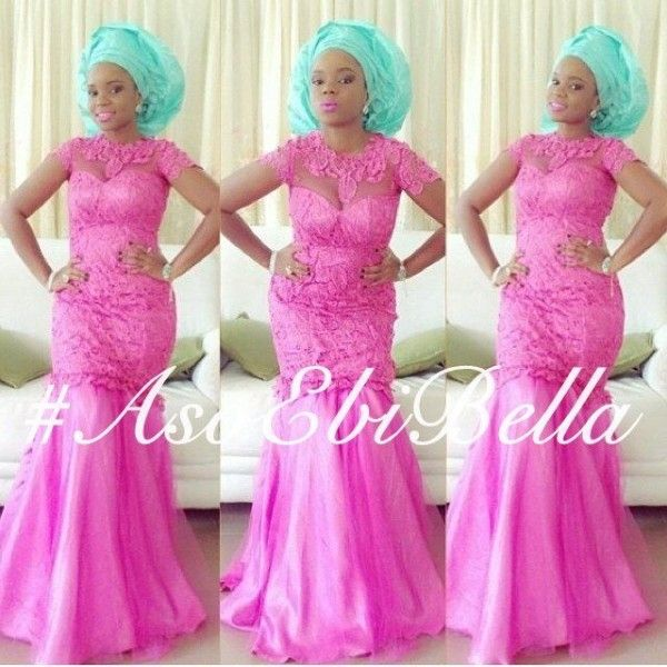 Pink Lace Dress With Mint Green Gele Projects To Try Pinterest African Fashion Dress