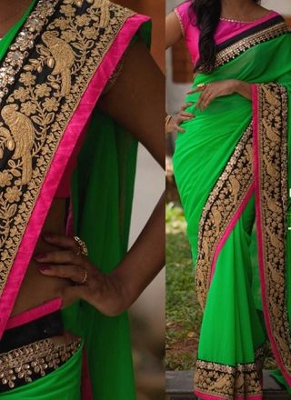 Green  Embroidery Work Designer Georgette Party Wear Fancy Sarees http://www.angelnx.com/Sarees/Designer-Sarees
