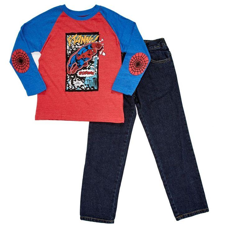 2pc Spider-Man Pants Set (4-7) (polo manga large y jean)