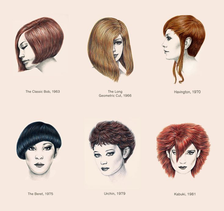 "Here, artist Winnie Truong recalls some of his most famous looks from the manual ""Cutting Hair the Vidal Sassoon Way."" I think I need the kabuki bangs."