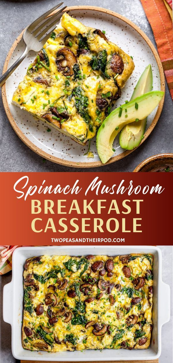 Spinach Mushroom Breakfast Casserole In 2020 Vegetarian Breakfast Casserole Mushroom Breakfast Breakfast Recipes Casserole