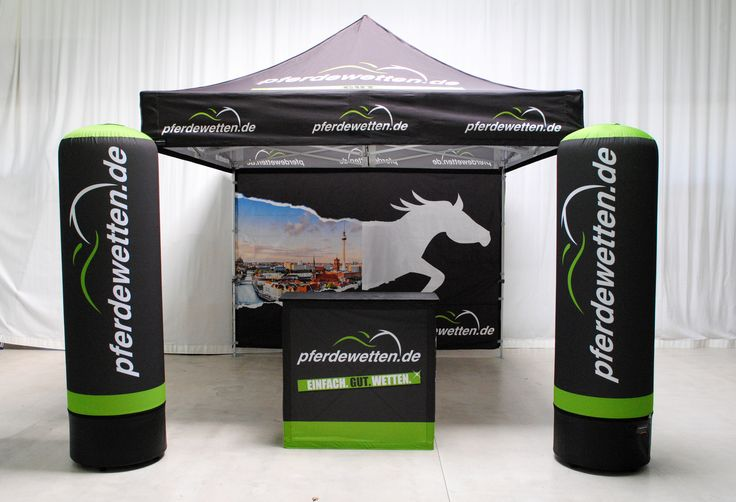Outdoor Messestand, Display-Kombination, Produkt-Kombi - Faltzelt, Promotiontheke, Werbesäule