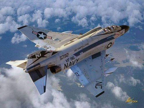 McDonnell Douglas F-4E Phantom II from the VF-96 Fighting Falcons based on the US Navy aircraft carrier USS Constellation (CV-64). Source: vbeserk