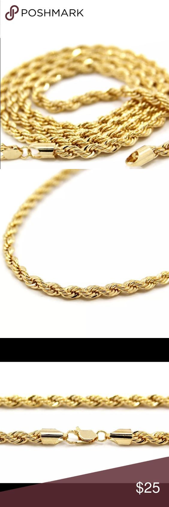 "Men's 14K Gold 4mm rope chain 24"" Gold chain 14K engraved on it, sterling silver dipped in gold Jewelry Necklaces"