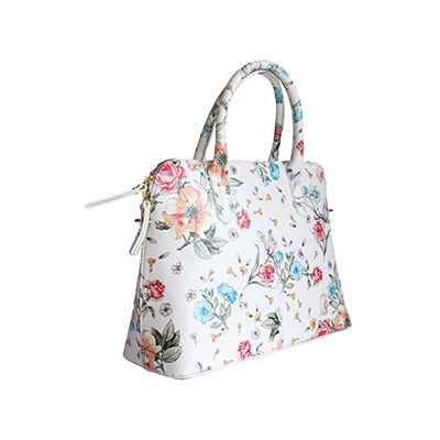 4e131a5625 Serafina Italian White Floral Leather Dome Handbag - £54.99