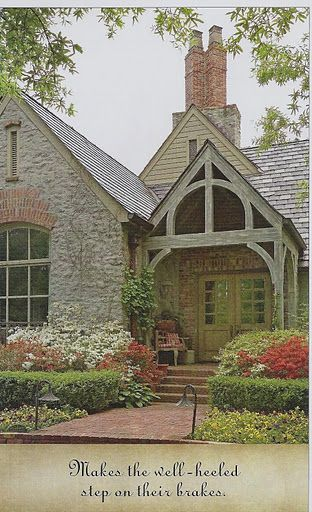 I love, love, brick and stone together especially when beams are included!